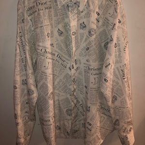 Dior Newspaper Button Down Size 40 M-L